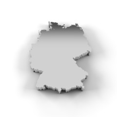 Germany map 3D silver with clipping path