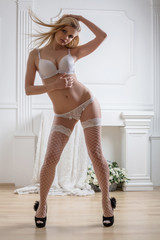girl in lace lingerie and stockings and shoes in studio