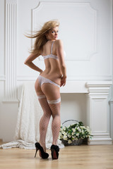 girl in lace lingerie and stockings and shoes stand back
