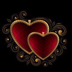 red hearts with golden ornament