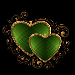 green faceted hearts with ornament