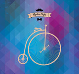 Hipster monocycle. Triangle background, vector illustration