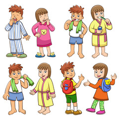illustration of boy and girl daily morning life.