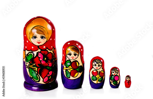 Russian matryoshka dolls isolated on white background