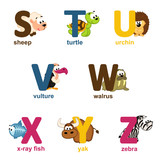 alphabet animals from S to Z - vector illustration