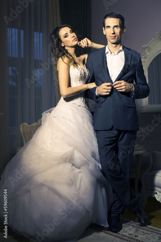 Portrait of attractive wedding couple