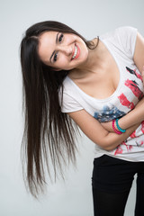 young brunette girl smiling