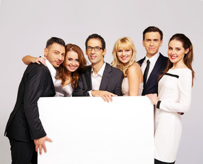 Elegant people with white board