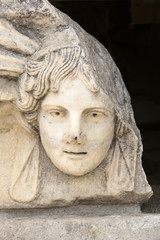 Head relief on the Portico of Tiberius in Aphrodisias, Aydin, Tu