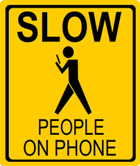 funny people on phone street sign