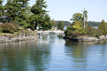 Bridge on Zavikon island.1000 Islands