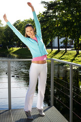 sporty woman jump outdoor