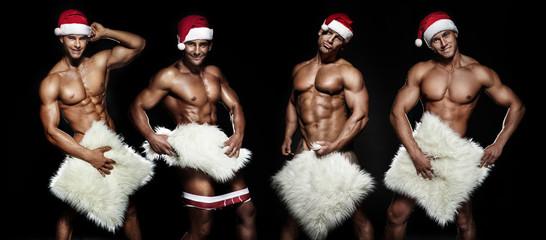 Sexy Santa Claus posing.