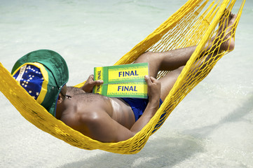 Brazilian Soccer Fan Relaxing with Tickets to Final