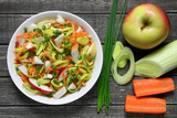 Salad with leek, carrots and apples