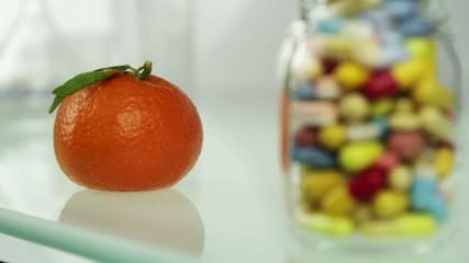 Natural vitamins fresh fruits or artificial pills
