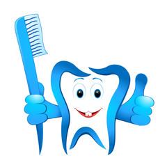 lustiger Zahn mit Zahnbürste