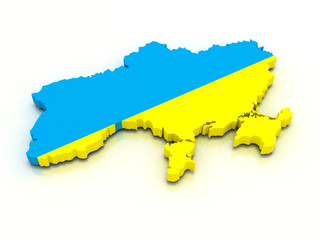3d map of Ukraine in national flag colors