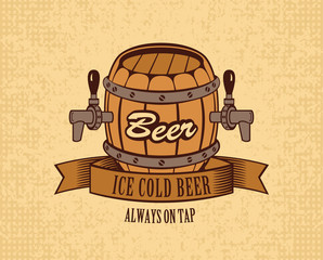 banner with a barrel of beer on tap