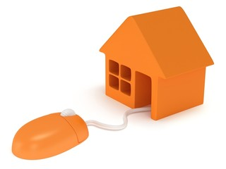 Computer mouse with house.  3d render.