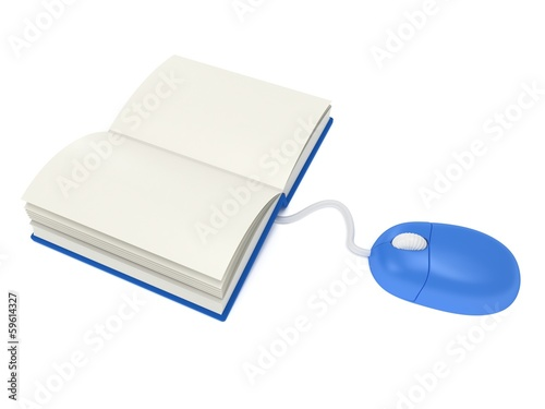 Computer mouse with book.  3d render.