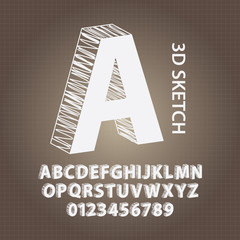 3D Sketch Alphabet and Numbers Vector