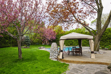 Backyard with gazebo and deck