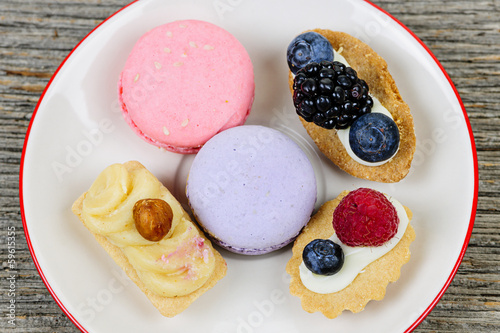 Plate of fancy desserts