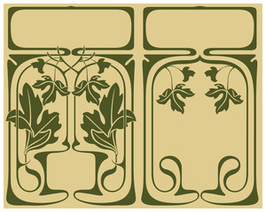 Abstract framework from the bound plants in style art-nouveau