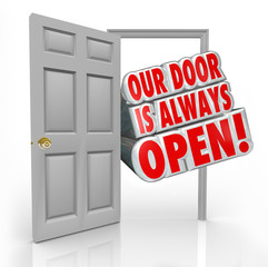 Our Door is Always Open Invitation Welcome Inside