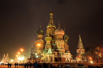 St Basils Cathedral at winter night