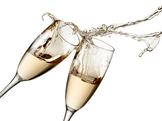 Two champagne glasses splash