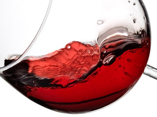 Red wine glass, close up