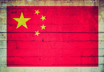 Retro look flag of China