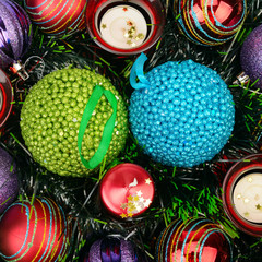 background of Christmas decorations and candles
