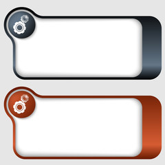 set of two abstract text frames with cogwheels