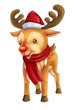 Cartoon illustration of character for Christmas, reindeer