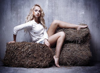 portrait of the young sexual girl sitting on the hay, on textura