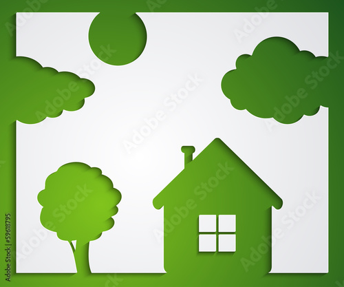 House, tree, cloud stickers