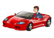 Cartoon illustration of a businessman driving a sport car