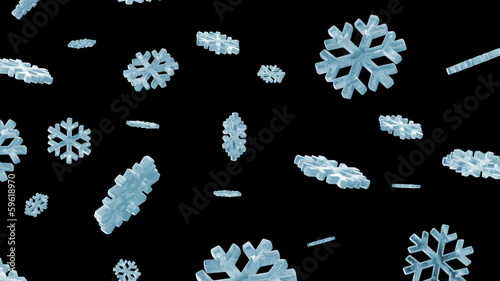 Icy Snowflakes Falling. HQ Seamless Looping Animation with Alpha
