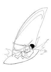 Sketch illustration of a wind surfer