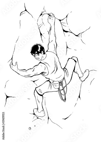 Sketch illustration of a man climbing the rock