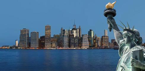 Early morning New York City skyline panorama