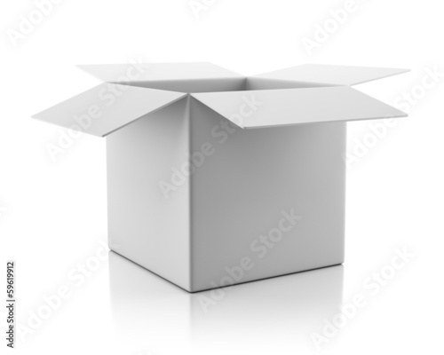 Blank open empty white cardboard box
