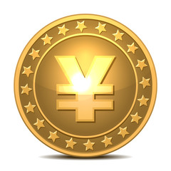 Gold coin with yen sign.