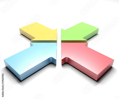 3d illustration of Shiny four colorful arrows
