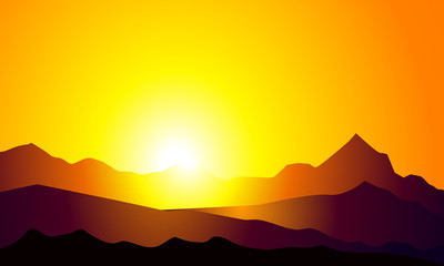 Sunrise on Mountain-Vector
