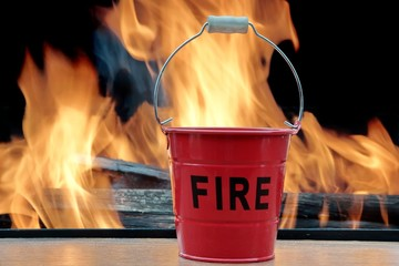 Fire bucket and Flames