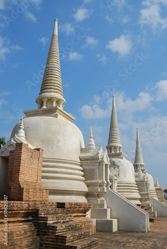 Side view of white pagoda.